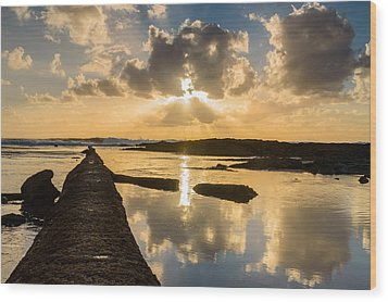 Sunset Over The Ocean I Wood Print by Marco Oliveira