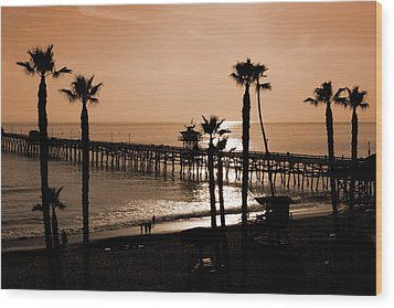Sunset Over The Pacific Wood Print