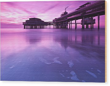 Wood Print featuring the photograph Sunset Over The Pier by Mihai Andritoiu