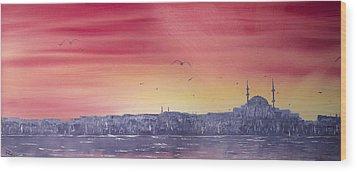 Sunset Over The Sea Of Marmar Wood Print