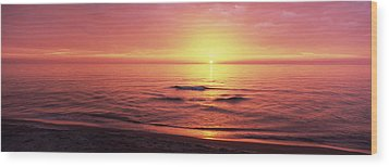 Sunset Over The Sea, Venice Beach Wood Print by Panoramic Images