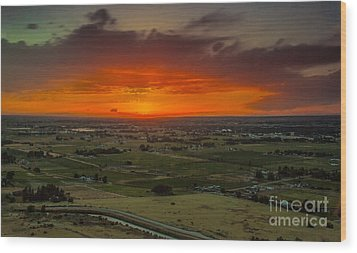 Sunset Over The Valley Wood Print by Robert Bales