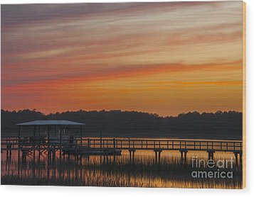 Wood Print featuring the photograph Sunset Over The Wando River by Dale Powell