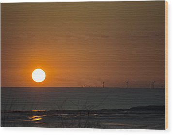 Sunset Over The Windfarm Wood Print