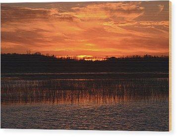 Sunset Over Tiny Marsh Wood Print