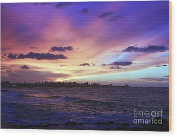 Wood Print featuring the photograph Sunset Over Town And Sea Water by Mohamed Elkhamisy