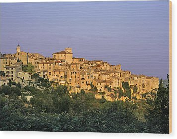 Sunset Over Vieux Nice - Old Town - France Wood Print by Christine Till