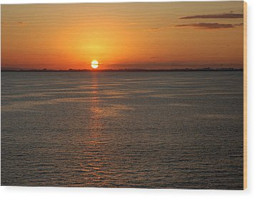 Sunset Over Water Wood Print by Allen Carroll