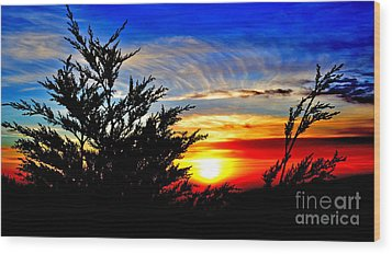 Sunset Overlooking Pacifica Ca Vi Wood Print by Jim Fitzpatrick