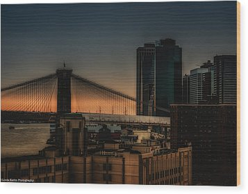 Wood Print featuring the photograph Sunset Overlooking The Brooklyn Bridge New York by Linda Karlin