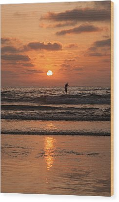 Sunset Paddle Wood Print by Sonny Marcyan