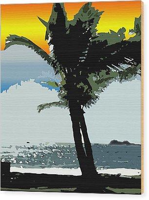 Wood Print featuring the digital art Sunset Palm by Karen Nicholson