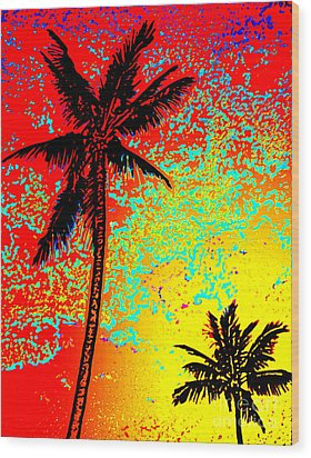 Wood Print featuring the photograph Sunset Palms by David Lawson