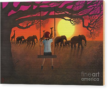 Sunset Parade Wood Print