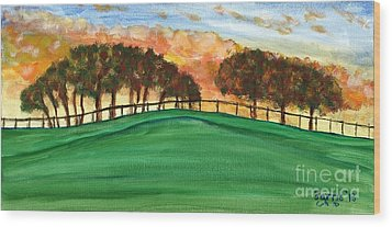 Sunset Pasture Wood Print