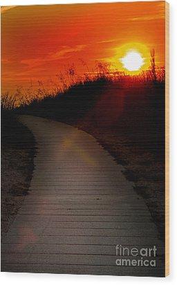 Sunset Path Wood Print