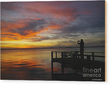 Wood Print featuring the photograph Sunset Photographer by Tannis  Baldwin