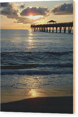 Sunset Pier Wood Print by Carey Chen