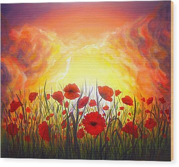 Wood Print featuring the painting Sunset Poppies by Lilia D