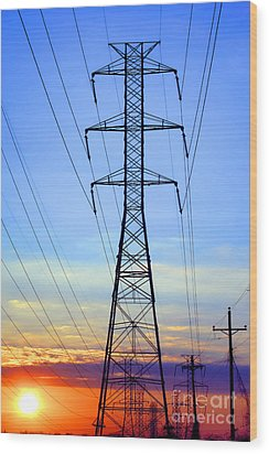 Sunset Power Lines Wood Print by Olivier Le Queinec