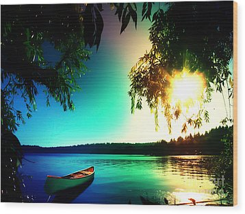 Wood Print featuring the photograph Sunset Rainbow At Kenmore Washington by Eddie Eastwood