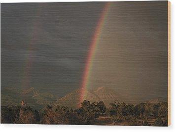 Sunset Rainbow Left Wood Print