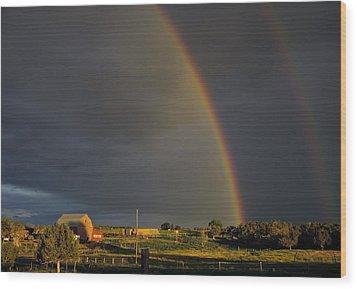 Sunset Rainbow Right Wood Print