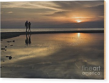 Sunset Reflection And Silhouettes Wood Print by Daliana Pacuraru