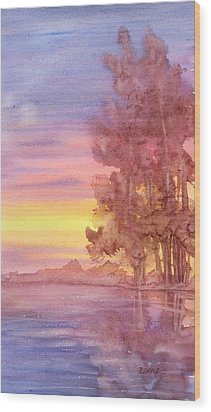 Wood Print featuring the painting Sunset Reflection by Rebecca Davis