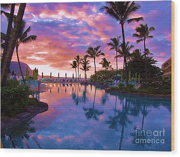 Sunset Reflection St Regis Pool Wood Print by Michele Penner