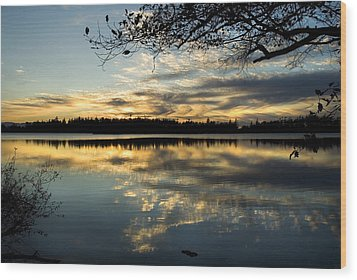 Wood Print featuring the photograph Sunset Reflection by Yulia Kazansky