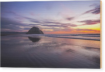 Sunset Reflections At Morro Bay Beach Rock Fine Art Photography Print Wood Print
