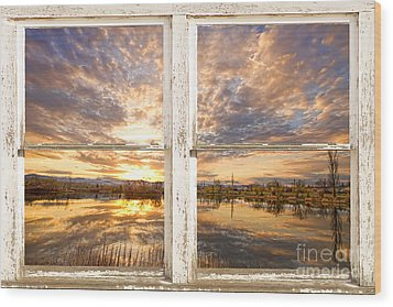 Sunset Reflections Golden Ponds 2 White Farm House Rustic Window Wood Print by James BO  Insogna