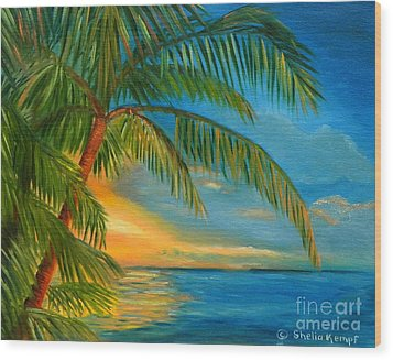 Wood Print featuring the painting Sunset Reflections - Key West Sunset And Palm Trees by Shelia Kempf