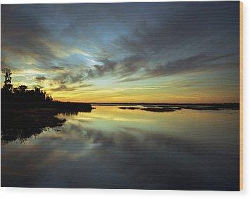 Sunset Reflections. Lake Gentry. Wood Print by Chris  Kusik