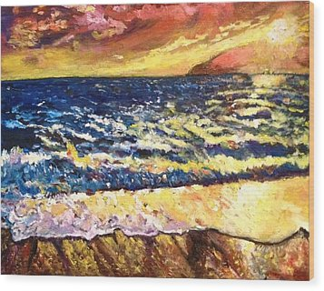 Wood Print featuring the painting Sunset Rest - Drama At Sea by Belinda Low