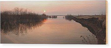 Sunset  River Panorama Wood Print