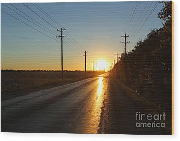 Sunset Road Wood Print