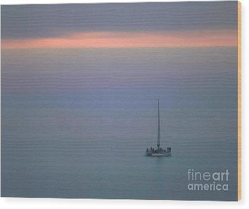 Sunset Sail Wood Print by Clare VanderVeen