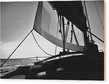 Sunset Sail In Black And White Wood Print
