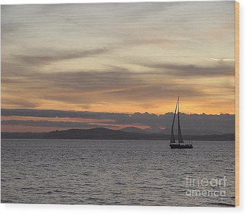 Wood Print featuring the photograph Sunset Sail In Seattle by Laura  Wong-Rose
