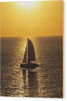 Wood Print featuring the photograph Sunset Sail by Jennifer Wheatley Wolf