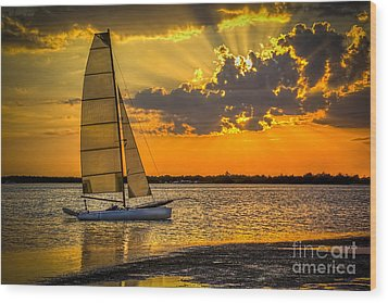 Sunset Sail Wood Print by Marvin Spates