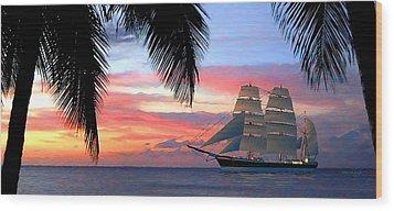 Sunset Sailboat Filtered Wood Print