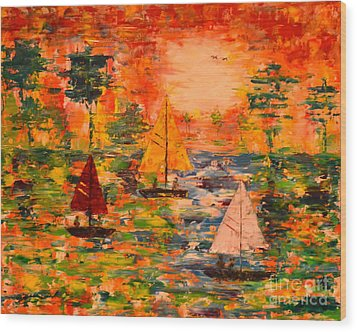 Wood Print featuring the painting Sunset Sailing by Denise Tomasura