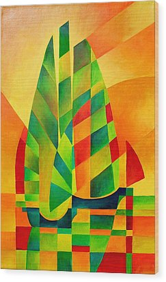 Wood Print featuring the painting Sunset Sails And Shadows by Tracey Harrington-Simpson