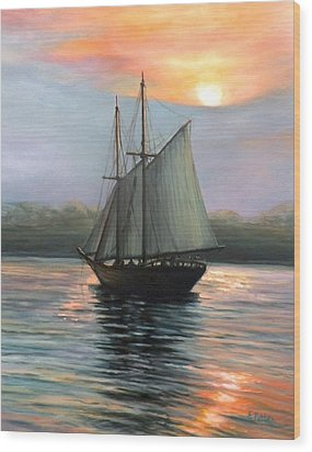 Sunset Sails Wood Print