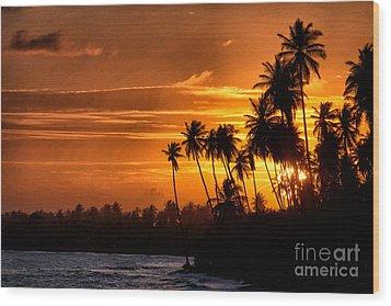 Sunset Salinas Puerto Rico Wood Print