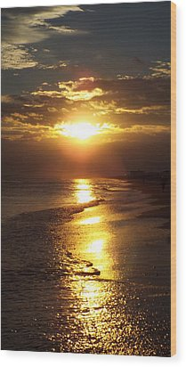 Sunset  Sand  Waves Wood Print