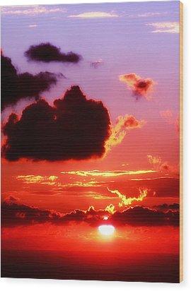 Sunset Sea Wood Print
